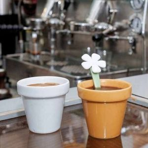 Flower Pot Porcelain Espresso Cups w/ Spoon